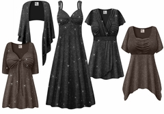 Plus Size Embossed Black or Gray Glitter Slinky Dresses & Tops - Sizes Lg to 9x
