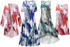 NEW! Plus Size Feathers Print SLINKY Dresses Shirts Jackets Pants Palazzo�s & Skirts - Sizes Lg to 9x