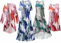 SALE! Plus Size Feathers Print SLINKY Dresses Shirts Jackets Pants Palazzo�s & Skirts - Sizes Lg to 9x
