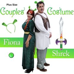 NEW! Plus Size Fiona & Shrek Couples Halloween Costume XL 0x 1x 2x 3x 4x 5x 6x 7x 8x 9x