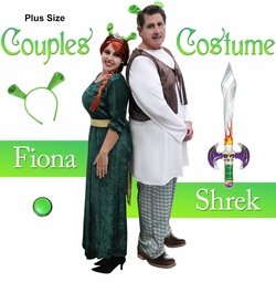 SALE! Plus Size Fiona & Shrek Couples Halloween Costume XL 0x 1x 2x 3x 4x 5x 6x 7x 8x 9x