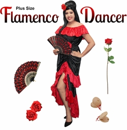 NEW! Plus Size Flamenco Halloween Costume XL 1x 2x 3x 4x 5x 6x 7x 8x