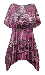 NEW! Plus Size Fresh Fuchsia Shimmer Print SLINKY Babydoll Top Customizable L XL 1x, 2x, 3x, 4x, 5x, 6x, 7x, 8x