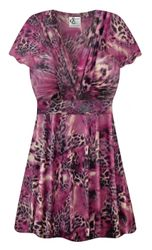 NEW! Plus Size Fresh Fuchsia Shimmer Print SLINKY Magic Babydoll Top Customizable L XL 1x 2x 3x 4x 5x 6x 7x 8x