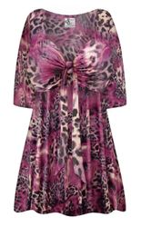 NEW! Plus Size Fresh Fuchsia Shimmer Print SLINKY Tie Babydoll Shirt Customizable L XL 1x 2x 3x 4x 5x 6x 7x 8x 9x