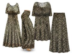 Plus Size Gemstone Print SLINKY Dresses Tops Skirts Pants Palazzo�s & Skirts - Sizes Lg to 9x