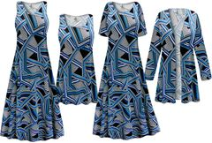 NEW! Plus Size Geometric Print SLINKY Dresses Shirts Jackets Pants Palazzo�s & Skirts - Sizes Lg to 9x