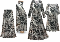 Plus Size Gray Animal Print Slinky Dresses Shirts Jackets Pants Palazzo�s & Skirts - Sizes Lg to 9x