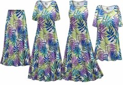 NEW! Plus Size Green Blue & Purple Leaves Slinky Dresses Shirts Jackets Pants Palazzo�s & Skirts - Sizes Lg to 9x