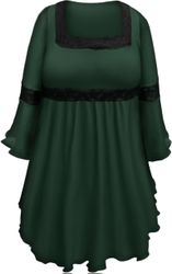 SALE! Plus Size Green Lace Trim Bell Sleeve Victorian Gothic Babydoll Slinky Top 4x 5x 6x 7x