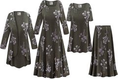 NEW! Plus Size Heathered Olive Floral Print Slinky Dresses Shirts Jackets Pants Palazzo�s & Skirts - Sizes Lg to 9x