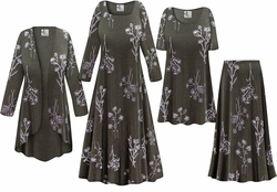SOLD OUT! NEW! Plus Size Heathered Olive Floral Print Slinky Dresses Shirts Jackets Pants Palazzo�s & Skirts - Sizes Lg to 9x