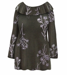 SOLD OUT! NEW! Plus Size Heathered Olive Floral Slinky Extra Wide Cowl Neck Sweater Size Lg XL 0x 1x 2x 3x 4x 5x 6x 7x 8x