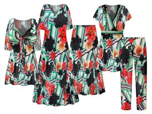 NEW! Plus Size Hibiscus Grosgrain Print SLINKY Dresses Shirts Jackets Pants Palazzo�s & Skirts Customizable Sizes Lg to 9x