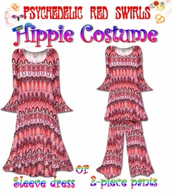 SALE! Psychedelic Red Swirl Print Plus Size Hippie Costume - 60's Style Retro Dress or Top & Bell-Bottom Pant Set Plus Size & Supersize Halloween Costume Kit 0x 1x 2x 3x 4x 5x 6x 7x 8x 9x