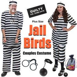 NEW! Plus Size Jail Bird Couples Halloween Costume Lg XL 0x 1x 2x 3x 4x 5x 6x 7x 8x 9x