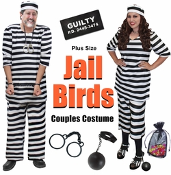 SALE! Plus Size Jail Bird Couples Halloween Costume Lg XL 0x 1x 2x 3x 4x 5x 6x 7x 8x 9x