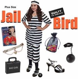 SALE! Plus Size Jail Bird Halloween Costume Lg XL 0x 1x 2x 3x 4x 5x 6x 7x 8x 9x