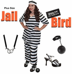 NEW! Plus Size Jail Bird Halloween Costume Lg XL 0x 1x 2x 3x 4x 5x 6x 7x 8x 9x