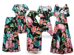 Plus Size Kamalai Tropical Print SLINKY Dresses Tops Skirts Pants Palazzo�s & Skirts - Sizes Lg to 9x