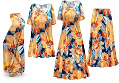 SOLD OUT! Plus Size Large Orange Blooms Slinky Dresses Shirts Jackets Pants Palazzo�s & Skirts - Sizes Lg to 9x