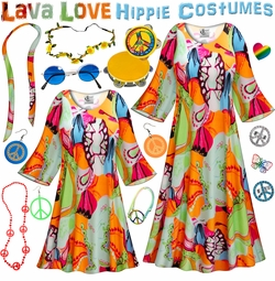 SALE! Lava Love Print Hippie Dress - 60's Style Retro Plus Size & Supersize Halloween Costume Kit Lg XL 0x 1x 2x 3x 4x 5x 6x 7x 8x 9x