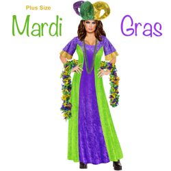 NEW! Plus Size Mardi Gras Halloween Costume Sizes Lg XL 0x 1x 2x 3x 4x 5x 6x 7x 8x 9x