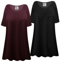 NEW! Plus Size Maroon or Black Geometric Print Short or Long Sleeve Shirts - Tunics - Tank Tops Customizable L XL 1x 2x 3x 4x 5x 6x 7x 8x 9x