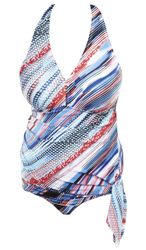 NEW! Plus Size Multi Stripe Print Convertible Halter Swimdress / Swimsuit 2x/24W