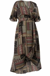 SALE! Plus Size Multicolored Patchwork Ruffled High Low Wrap Dress Size  3x