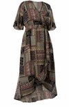 CLEARANCE! Plus Size Multicolored Patchwork Ruffled High Low Wrap Dress Size  3x