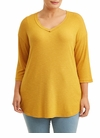 SALE! Plus Size Mustard Light Weight 3/4 Sleeve V-Neck Ribbed Knit Tee Top Size 1x 2x 3x 4x