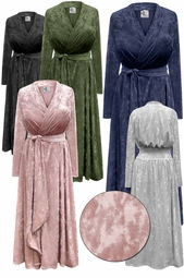 NEW! Plus Size Navy, Black, Silver, Rose or Olive Ice Velvet Robe with Attached Belt 0x 1x 2x 3x 4x 5x 6x 7x 8x 9x