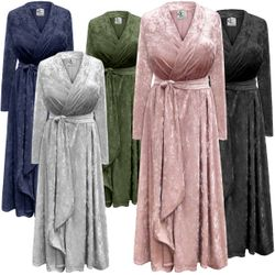 NEW! Plus Size Navy, Black, Silver, Rose or Olive Ice Velvet Robe with Attached Belt - Many Colors! Plus & Supersize 0x 1x 2x 3x 4x 5x 6x 7x 8x 9x