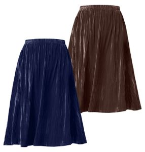 NEW! Plus Size Navy & Brown Crushed Velour Long Skirt Size 4x, 5x/6x & 6x/7x