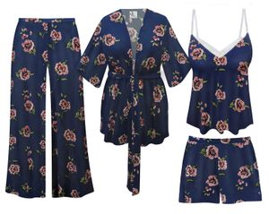 NEW! Plus Size Navy Floral Print Tank, Jacket, and Shorts or Palazzo Lounge Set Customizable L XL 1x 2x 3x 4x 5x 6x 7x 8x 9x