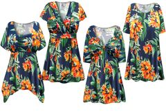 NEW! Plus Size Navy & Orange Tropical Floral Print Slinky Dresses Shirts Jackets Pants Palazzo�s & Skirts - Sizes Lg to 9x