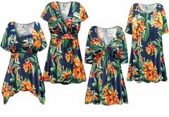 SALE! Plus Size Navy & Orange Tropical Floral Print Slinky Dresses Shirts Jackets Pants Palazzo�s & Skirts - Sizes Lg to 9x