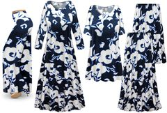 Plus Size Navy & White Floral Print Slinky Dresses Shirts Jackets Pants Palazzo�s & Skirts - Sizes Lg to 9x