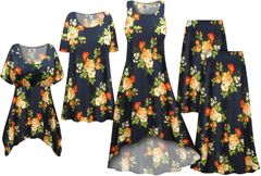 NEW! Plus Size Navy With Orange Roses Print Slinky Dresses Shirts Jackets Pants Palazzo�s & Skirts - Sizes Lg to 9x