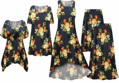 SALE! Plus Size Navy With Orange Roses Print Slinky Dresses Shirts Jackets Pants Palazzo�s & Skirts - Sizes Lg to 9x