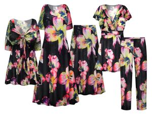 NEW! Plus Size Neon Jungle Print SLINKY Dresses Shirts Jackets Pants Palazzo�s & Skirts Customizable Sizes Lg to 9x
