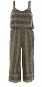 SALE! Plus Size Olive Tribal Striped Design Tiered Jumpsuit Size 4x
