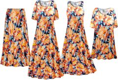 Plus Size Orange Blooms Print Slinky Dresses Shirts Jackets Pants Palazzo�s & Skirts - Sizes Lg to 9x