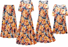 SOLD OUT! Plus Size Orange Blooms Print Slinky Dresses Shirts Jackets Pants Palazzo�s & Skirts - Sizes Lg to 9x