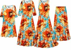 Plus Size Orange & Blue Floral Slinky Dresses Shirts Jackets Pants Palazzo�s & Skirts - Sizes Lg to 9x