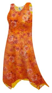 NEW! Plus Size Orange Tropical Print Sharktail Hem Swimsuit Cover Up Dresses & Shirts with Pockets Supersize Customizable 0x 1x 2x 3x 4x 5x 6x 7x 8x 9x