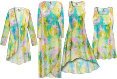 NEW! Plus Size Pastel Abstract Print Slinky Dresses Shirts Jackets Pants Palazzo�s & Skirts - Sizes Lg to 9x