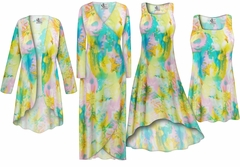 SALE! Plus Size Pastel Abstract Print Slinky Dresses Shirts Jackets Pants Palazzo�s & Skirts - Sizes Lg to 9x