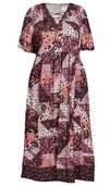 NEW! Plus Size Patchwork Print Lace-Up Dress Size 3x 4x